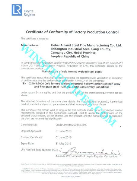 EN 10219 Certificate page 1