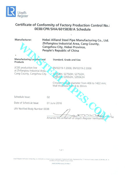 EN 10219 Certificate page 2