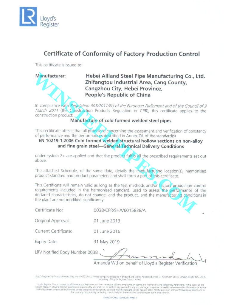 EN 10219-1:2006 certificate